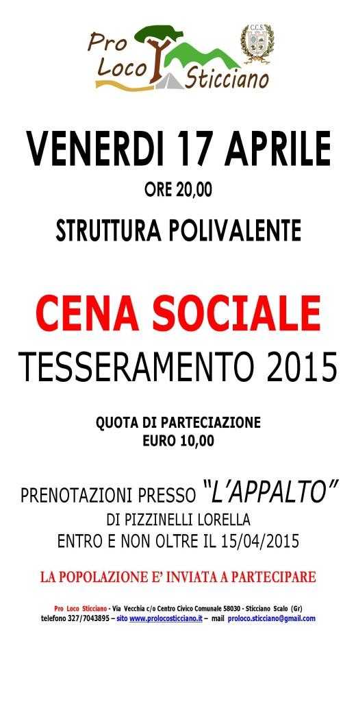 MANIFESTO CENA SOCIALE 2015