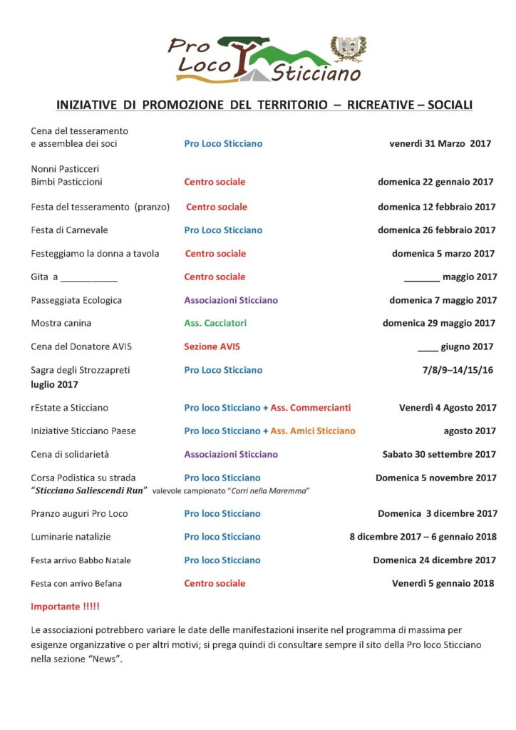 PROGRAMMA INIZIATIVE 2017